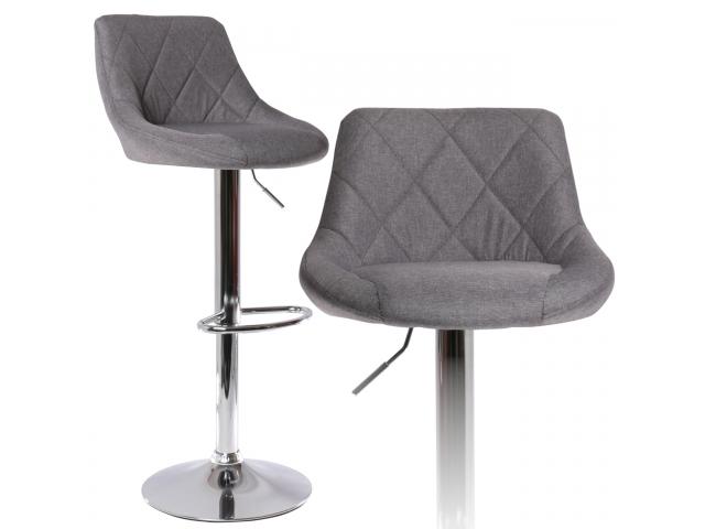 Hoker Krzesło Barowe Regulowane Materiałowe Szare
