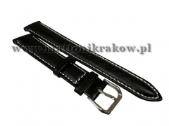 PASEK SKÓRZANY DO ZEGARKA 4490/BLACK-WHITE 20MM