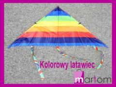 EE93 Kolorowy latawiec Tęcza dla dzieci Duży