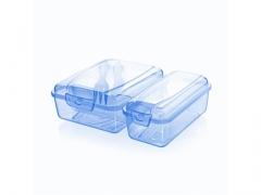 Lunch Box ze sztućcami dwukomorowy Titiz