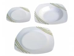 SERWIS komplet obiadowy 6/18 talerze KWADRATOWE