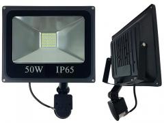 HALOGEN LED 50W SMD + CZUJNIK NAŚWIETLACZ LAMPA