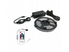 Taśma LED RGB 5m IP6 + pilot radiowy ZESTAW LEDÓW
