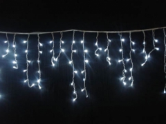 Lampki Sople 192 LED Z Programatorem  Białe Zimne
