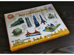 Puzzle piankowe 3D znane budowle miks