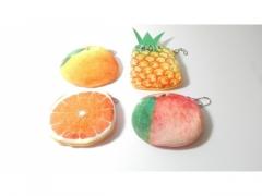 Portfel pluszowy owoce - różne wzory średn. 10 cm