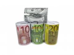 Skarbonka metalowa - Euro , Dolar