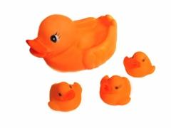 Kaczki gumowe piszczące 4szt rodzinka -pomarańczow