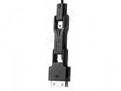 Ładowarka usb zwijany kabel 3w1 micro USB  iPh4 4G
