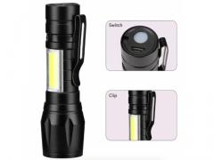 Latarka taktyczna LED COB zoom akum microUSB 9,3cm