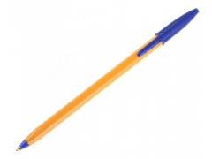 Pomarańczowy długopis z niebieskim wkładem