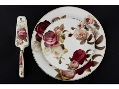 Zestaw 8 elem. talerze do ciasta róża czerwona