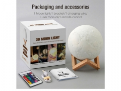 LAMPKA NOCNA KSIĘŻYC 3D MOON LIGHT Z PILOTEM 16KOL