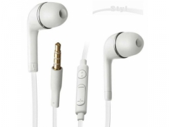 Słuchawki douszne uniwersalne białe z mikrofonem