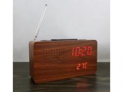 Zegar z radiem drewno kostka auto scan FM