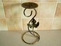 Świecznik metalowy 25cm kolec ozdoba liść klonu