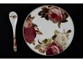 Zestaw 2 filiżanki z łyżeczkami róża czerwona