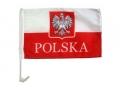 Flaga POLSKI z mocowaniem godło+napis POLSKA