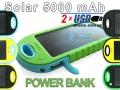 ŁADOWARKA SOLARNA POWER BANK 5000 mAh 2xUSB 7KOLOR