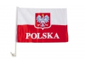 FLAGA SAMOCHODOWA Z GODŁEM POLSKI FLAGA POLSKI