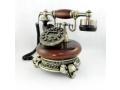 Telefon stacjonarny z wyświetlaczem antyk drewno