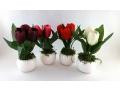 Sztuczny kwiatek w doniczce tulipan 17cm