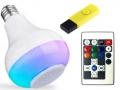 ŻARÓWKA E27 LED RGB BLUETOOTH USGŁOŚNIK USB PILOT