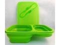 Pojemnik silikonowy lunch box składany ze sztućcem