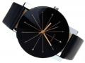DAMSKI zegarek ZŁOTY czarny RETRO skórzany pasek