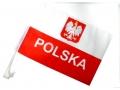Polska flaga z uchwytem na szybę samochodu
