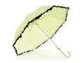 Parasol damski w groszki wykończony falbanką długi
