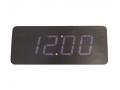 Zegar budzik LED diodowy ukryty w klocku w drewnie