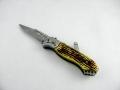 Scyzoryk nóż boczny sprężynowy 21cm kość latarka