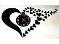 Zegar samoprzylepny na ścianę serce - 3 kolory